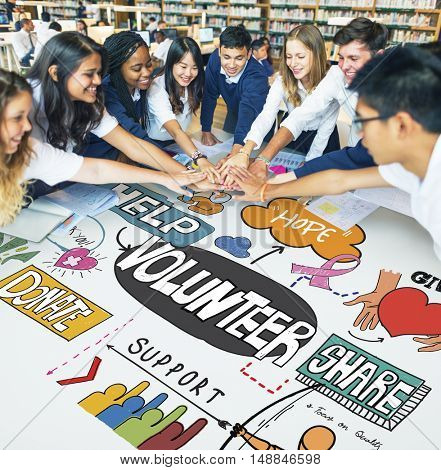 Optimistic Students Together Volunteering Concept
