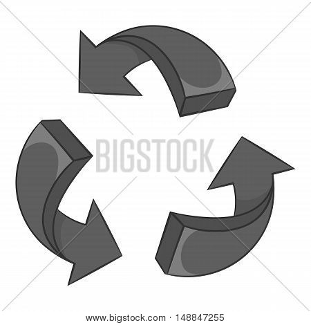 Three circular arrows icon in black monochrome style isolated on white background. Click and choice symbol vector illustration