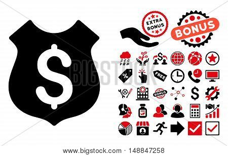 Guard Price icon with bonus clip art. Vector illustration style is flat iconic bicolor symbols intensive red and black colors white background.