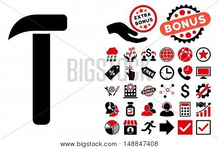 Hammer icon with bonus design elements. Vector illustration style is flat iconic bicolor symbols intensive red and black colors white background.