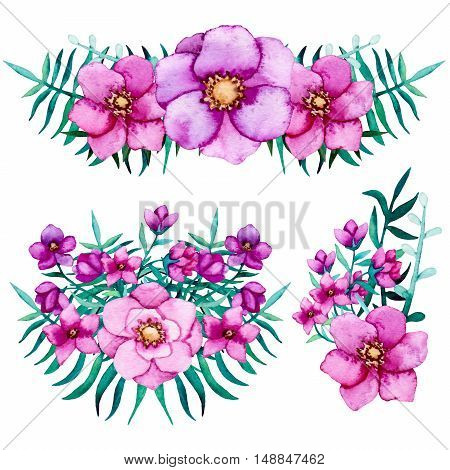 Set of Watercolor Bouquets with Pink and Purple Flowers and Bright Emerald Ferns