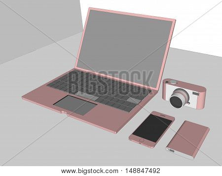 3D of laptop, digital camera, smartphone and HDD storage with rose pink color on table.