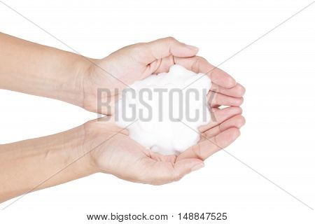 Shave foam cream sample on hand isolated on white