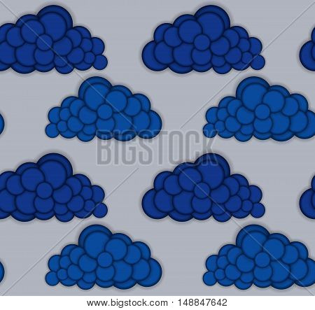 Seamless pattern with clouds. Convex round shapes. Vector illustration eps10