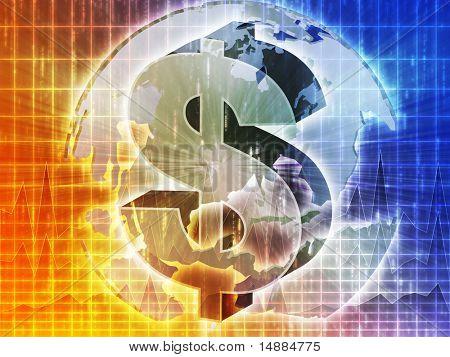 US Dollar symbol over globe of americas