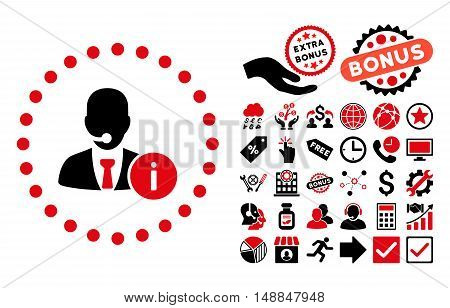 Help Desk icon with bonus design elements. Vector illustration style is flat iconic bicolor symbols intensive red and black colors white background.