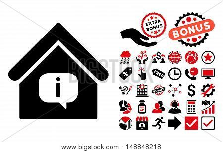 Hint Building icon with bonus pictograph collection. Vector illustration style is flat iconic bicolor symbols intensive red and black colors white background.