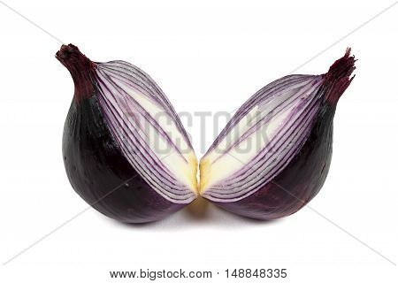 Red onion isolated on white background with clipping path