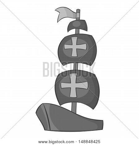 Ship of Columbus icon in black monochrome style isolated on white background. Maritime transport symbol vector illustration