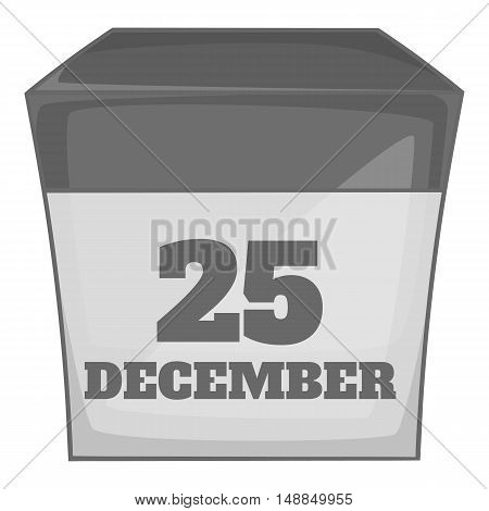 Calendar december twenty five icon in black monochrome style isolated on white background. Date symbol vector illustration