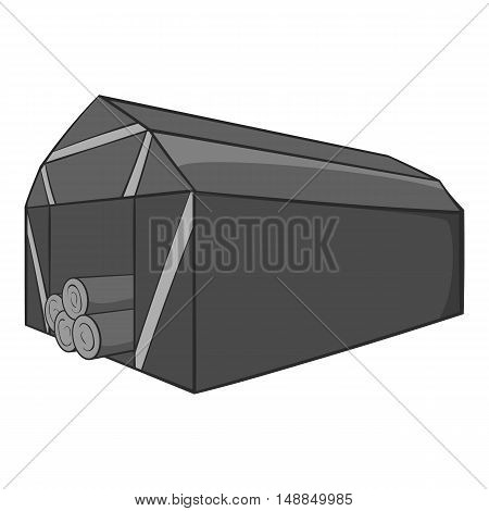 Storage location of tree icon in black monochrome style isolated on white background. Felling symbol vector illustration