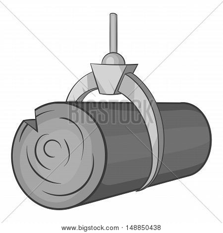 Hydraulic crane with log icon in black monochrome style isolated on white background. Felling symbol vector illustration