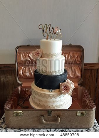 old wedding cake in old suitcase showing couple is going places in their marriage