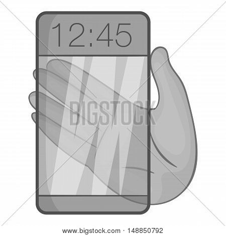 Transparent smartphone icon in black monochrome style isolated on white background. Technology symbol vector illustration