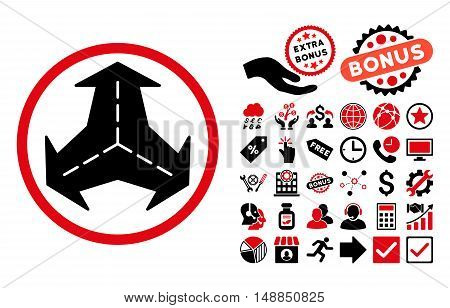 Intersection Directions pictograph with bonus icon set. Vector illustration style is flat iconic bicolor symbols intensive red and black colors white background.