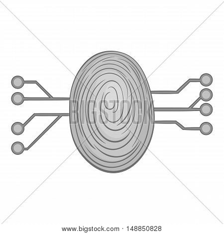 Scan a fingerprint icon in black monochrome style isolated on white background. Technology symbol vector illustration