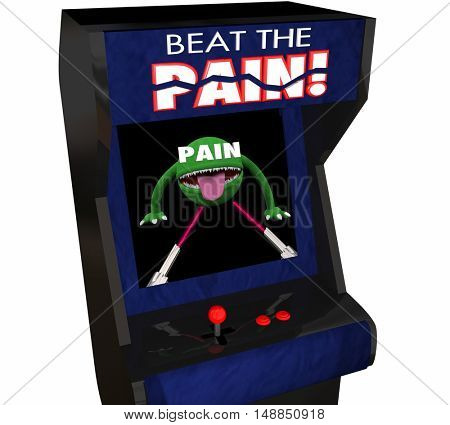 Beat Pain Treatment Medicate Feel Better Arcade Video Game 3d Illustration