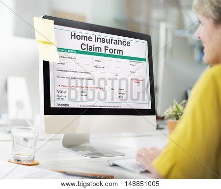 Home Insurance Claim Form Document Refund Concept