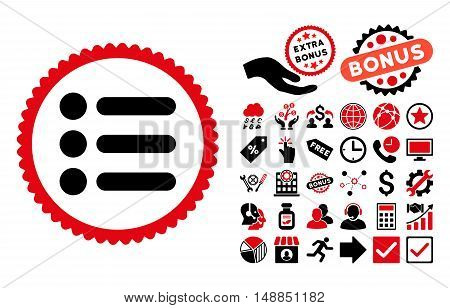 Items icon with bonus symbols. Vector illustration style is flat iconic bicolor symbols intensive red and black colors white background.