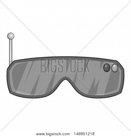 Virtual reality glasses icon in black monochrome style isolated on white background. Gadget symbol vector illustration