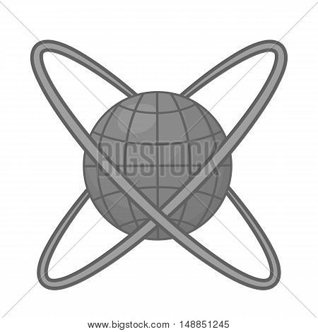 Around planet icon in black monochrome style isolated on white background. Research symbol vector illustration