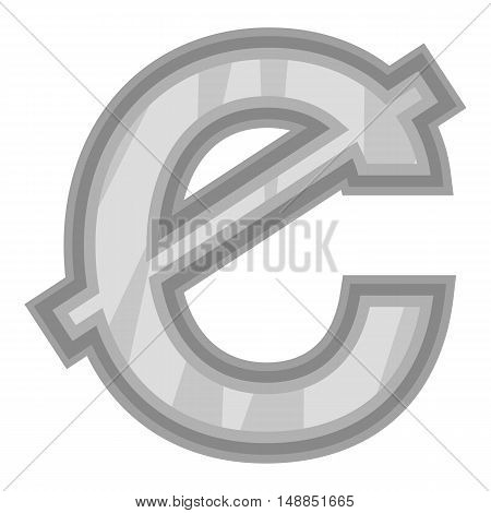 Sign of money ghanaian cedi icon in black monochrome style isolated on white background. Currency symbol vector illustration