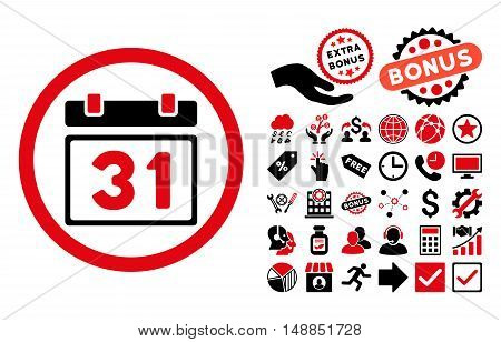 Last Month Day icon with bonus pictograph collection. Vector illustration style is flat iconic bicolor symbols intensive red and black colors white background.