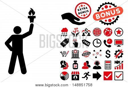 Leader With Freedom Torch pictograph with bonus symbols. Vector illustration style is flat iconic bicolor symbols intensive red and black colors white background.