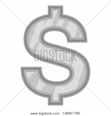 Sign of money dollar icon in black monochrome style isolated on white background. Currency symbol vector illustration