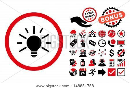 Light Bulb icon with bonus pictograph collection. Vector illustration style is flat iconic bicolor symbols intensive red and black colors white background.
