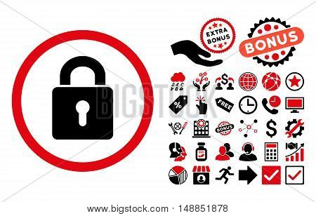 Lock Keyhole icon with bonus pictures. Vector illustration style is flat iconic bicolor symbols intensive red and black colors white background.