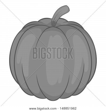 Pumpkin icon in black monochrome style isolated on white background. Vegetables symbol vector illustration