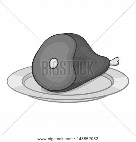 Piece of meat in plate icon in black monochrome style isolated on white background. Food symbol vector illustration