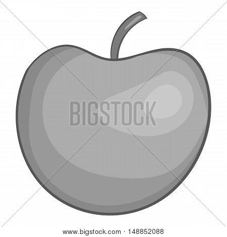 Apple icon in black monochrome style isolated on white background. Fruit symbol vector illustration