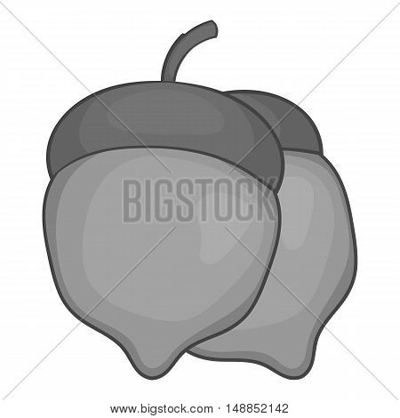 Two acorn icon in black monochrome style isolated on white background. Plant symbol vector illustration