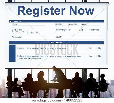 Register Now Document FIlling Form Concept