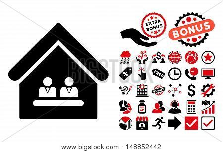 Management Office pictograph with bonus design elements. Vector illustration style is flat iconic bicolor symbols intensive red and black colors white background.