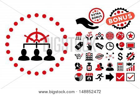 Management pictograph with bonus pictogram. Vector illustration style is flat iconic bicolor symbols intensive red and black colors white background.