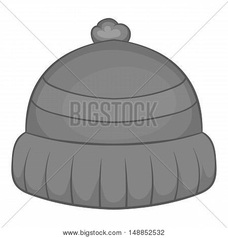 Winter hat icon in black monochrome style isolated on white background. Accessory symbol vector illustration