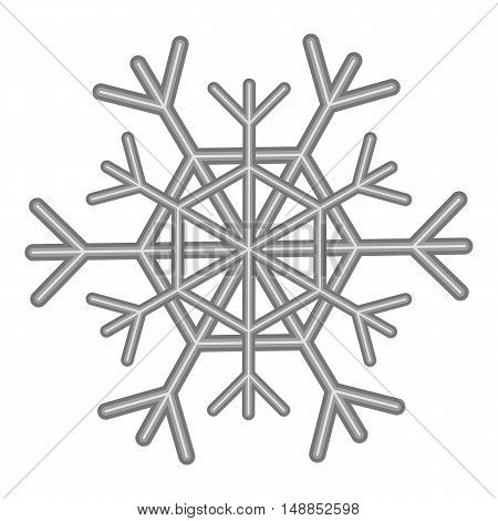Snowflake icon in black monochrome style isolated on white background. New year symbol vector illustration