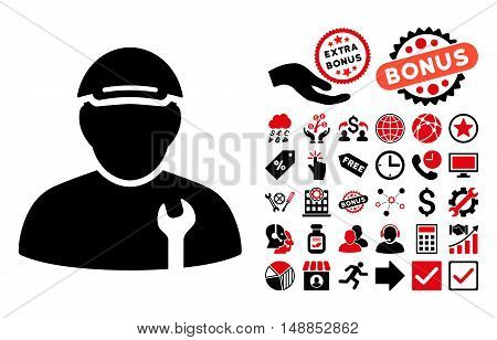 Mechanic pictograph with bonus pictograph collection. Vector illustration style is flat iconic bicolor symbols intensive red and black colors white background.
