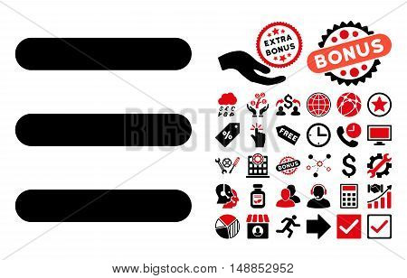 Menu Items icon with bonus clip art. Vector illustration style is flat iconic bicolor symbols intensive red and black colors white background.