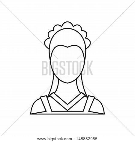 Maid icon in outline style isolated on white background. People symbol vector illustration
