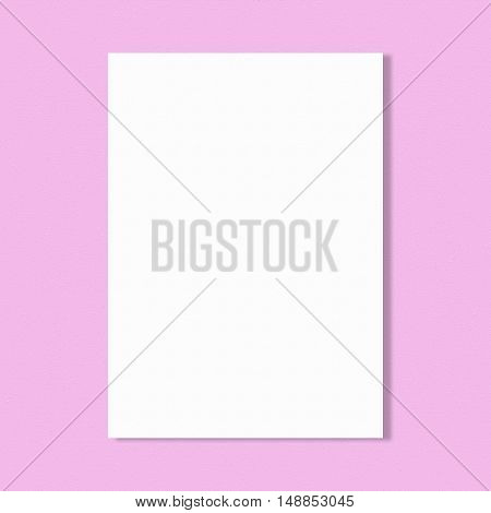 Abstract white paper sheet on pink wall background.