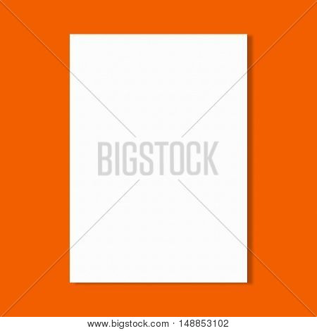 Abstract white paper sheet on orange wall background.