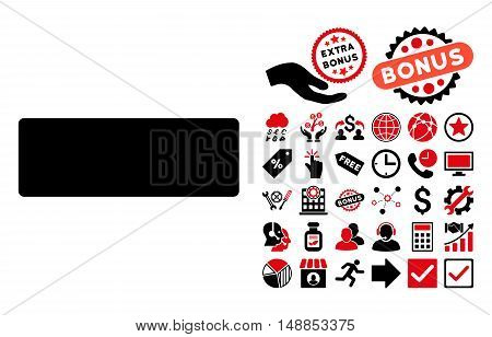 Minus pictograph with bonus design elements. Vector illustration style is flat iconic bicolor symbols intensive red and black colors white background.