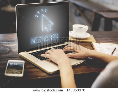 Digital Internet Connection Icon Mouse Pointer Concept
