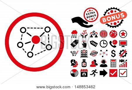 Molecule Links pictograph with bonus clip art. Vector illustration style is flat iconic bicolor symbols intensive red and black colors white background.