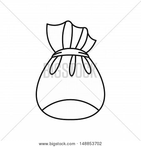Bag of Santa Claus with gifts icon in outline style isolated on white background. New year symbol vector illustration