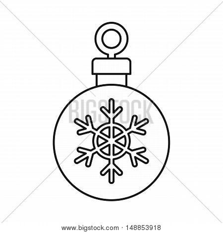 Christmas ball icon in outline style isolated on white background. New year symbol vector illustration